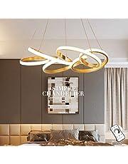 Moderne LED Hanglamp Eettafel Plafondlamp 6-Ring Hanglamp Woonkamer Hanglamp Slaapkamer in Hoogte Verstelbare Hanglamp Dimbare Afstandsbediening Kroonluchter Gouden Bloem Licht