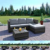 Abreo Rattan Garden Corner Sofa And Table Patio Furniture Set (Dark Mixed Brown + Light Cushions)