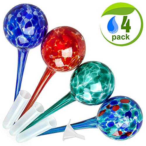 Improved Adjustable Large Self Watering Spikes for Plants. Indoor Outdoor Decorative Garden Irrigation System Aqua Glass Watering Globes Bulbs Stakes with a Plastic Tube. No More Mess & Dirt (4 Pack)