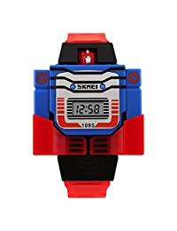 SKMEI Reloj Digital Para Niño Figura de Robot Carátula Desprendible se transforma en Robot Extensible de Caucho Azul (Rojo)