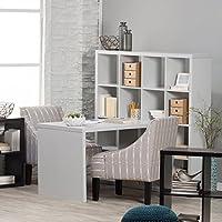 Hudson 16-cube Shelf with Desk Gray Melamine Finish Desk Shelf Durable Honeycomb Construction