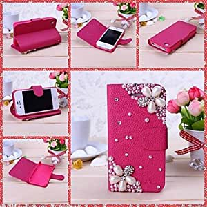 ZL New Luxury Peral Flower Rhinestone Pattern Full Body Leather Case with Stand for iPhone 4/4S