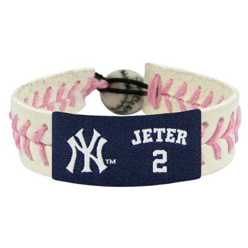 MLB New York Yankees Derek Jeter Pink Leather Wrist Band (New York Yankees Wristbands)