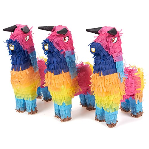 Pack of 3 Miniature Bull Pinatas - Mini-Sized Rainbow Mexican Pinatas for Birthday Party, Cinco De Mayo, Fiestas, Celebrations - 5.25 x 9 x 2 Inches