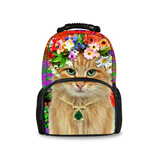 Backpack Students Female Large Capacity Backpack PU Floral Gold - 3