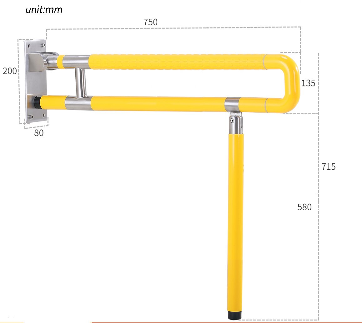 Carré de salle de bain Acier inoxydable en nylon Renforcer le double pôle Renverser pliant Type de plancher Jaune