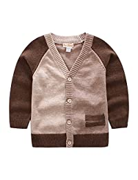 CJ Fashion Baby Boys Cardigan Sweater V Neck Botton Front Kids Knit Cardigans Long Sleeve