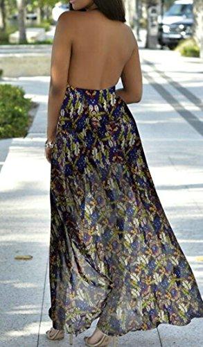 Print Long Cute C Sexy Chiffon amp;H V Neck Blue Beach Women's Dress Halter Heart Z6wqxZ0