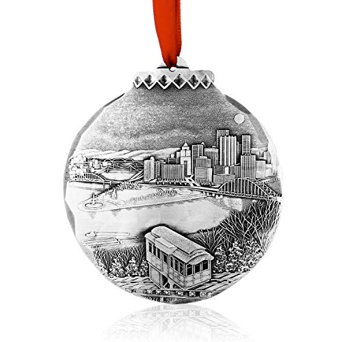 Wendell August My Home Town Pittsburgh Holiday Ornament – Great Gift for Pittsburgh Fans – Hand-Hammered Aluminum Ornament - -