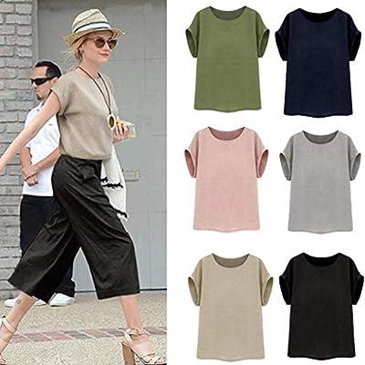 Keliay Womens Tops for Summer,Women Vintage Short SleeveCotton Linen Casual Loose Crop Tops Vests Blouse