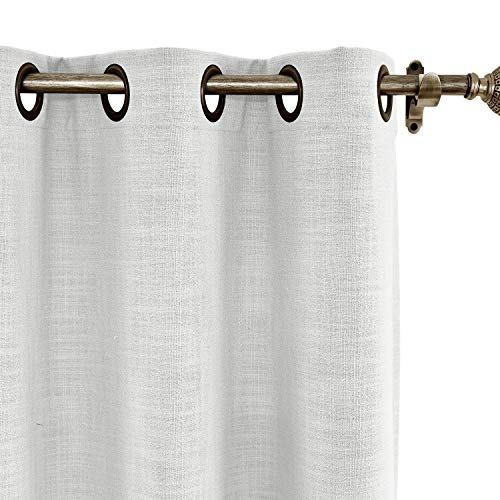 ChadMade 84W x 84L Inch Beige White Linen Polyester Curtain Drapes with Blackout Thermal Lining, Room Darkening Antique Bronze Grommet Curtain for Sliding Glass Door Patio Door Living Room (1 ()