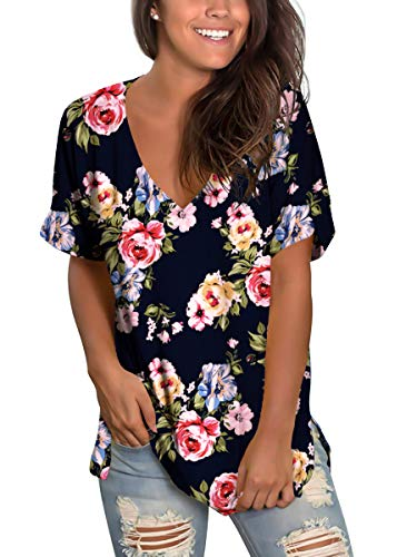 Ladies Floral Tops Summer V Neck Short Sleeve T Shirts Flower Navy Blue - V-neck Floral Top