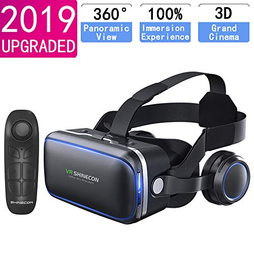 VR Headset for iPhone & Android Phone,3D VR Glasses for TV,Movies & Video Games,VR Headset with Remote Controller…