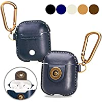 A+case AirPods case leather cover accessories with hook keychain & earbuds strap shock resistant full protective case for Apple AirPods iPhone 7 wireless earbuds charging case (Blue)