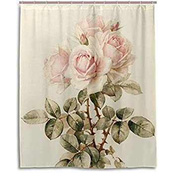 Bath Shower Curtain 60x72 InchVintage Shabby Chic Pink Rose FloralWaterproof Polyester Fabric