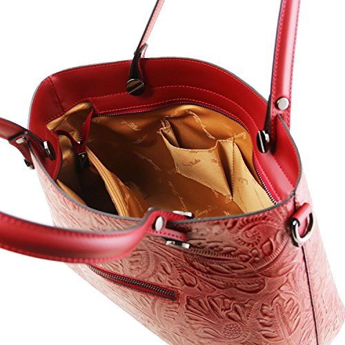 Tuscany Leather Atena Borsa shopping in pelle stampa floreale Nude Rosso Lipstick