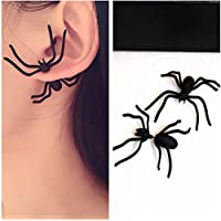 1PC Fashion Womens Halloween Black 3D Spider Charm Ear Stud Earrings Jewelry LOVE STORY