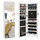 SONGMICS Full Screen Mirrored Jewelry Cabinet Armoire, 6 LEDs Jewelry Organizer Wall Hanging/Door Mounted, Larger Capacity, Pure White UJJC99WT