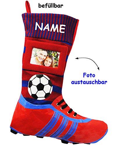 1 Stück _ XL Foto _ Filzstrumpf - 3-D Effekt - Fußballschuhe - ROT / BLAU - mit austauschbaren Foto - incl. Name - 45 cm - Fotosocke - Deko - Stollenschuhe auch als Weihnachtsstrumpf / Nikolausstr