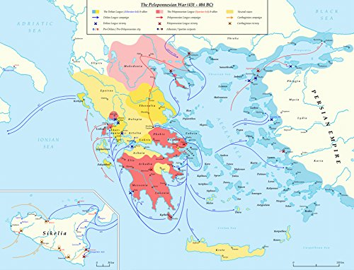 LAMINATED POSTER Map of A detailed map of the Peloponnesian