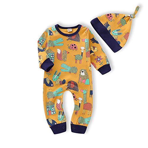 (Happy Town Newborn Baby Girls Boys Animal Print Romper Bodysuit Outfits Spring Fall Winter Clothes (Yellow, 12-18)