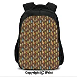 16' Casual Laptop Backpack Bookbags,Funky African Aztec Culture Toned Vibrant Feathers Plumage Folk Pattern Decorative CollegeTravel Computer Notebooks Backpack for Teen Men Women Umber Pale Green Blu