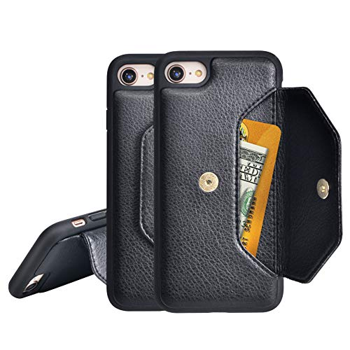 "PULOKA iPhone Case XR with Credit Card Holder Kickstand Wallet Microfiber Leather Cover Magnetic Closure for iPhone 6.1"" (Black)"