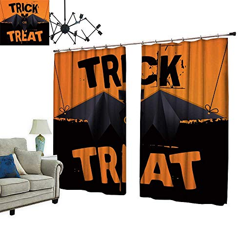 (PRUNUS Thermal Insulated Blackout Curtain with hookHanging Origami bat and Trick or Treat Halloween Text Reduce Noise Pollution,W120)