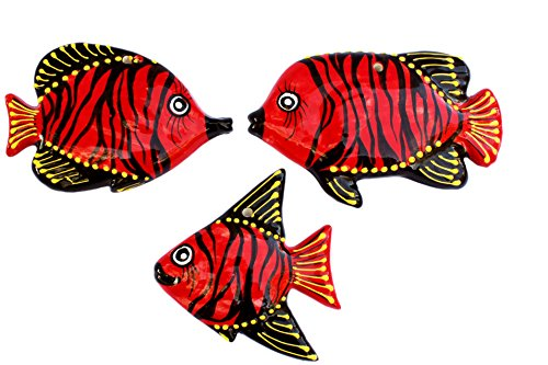 Tahiti Red Ceramic Fish Wall Hangers - Set of 3 - Hand Painted From Spain by Cactus Canyon Ceramics