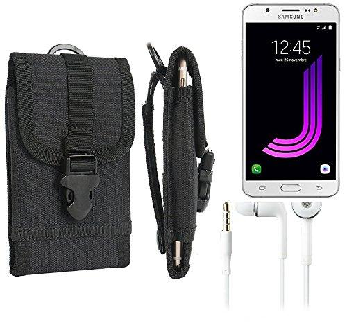 bolsa del cinturón / funda para Samsung Galaxy J7 (2016), negro + Auriculares | caja del teléfono cubierta protectora bolso - K-S-Trade (TM)