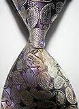 Jacob AleX #47214 Costume Geometric Beige Purple JACQUARD WOVEN Necktie