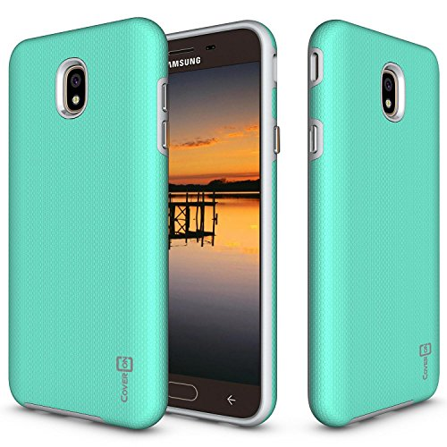 Samsung Galaxy J7 V 2nd Generation Case, Galaxy J7 2018/J7 Refine/J7 Star/J7 Aero/J7 Crown Case, CoverON [Rugged Series] Shock Absorbing Phone Cover with Easy-Press Metal Buttons - Mint Teal