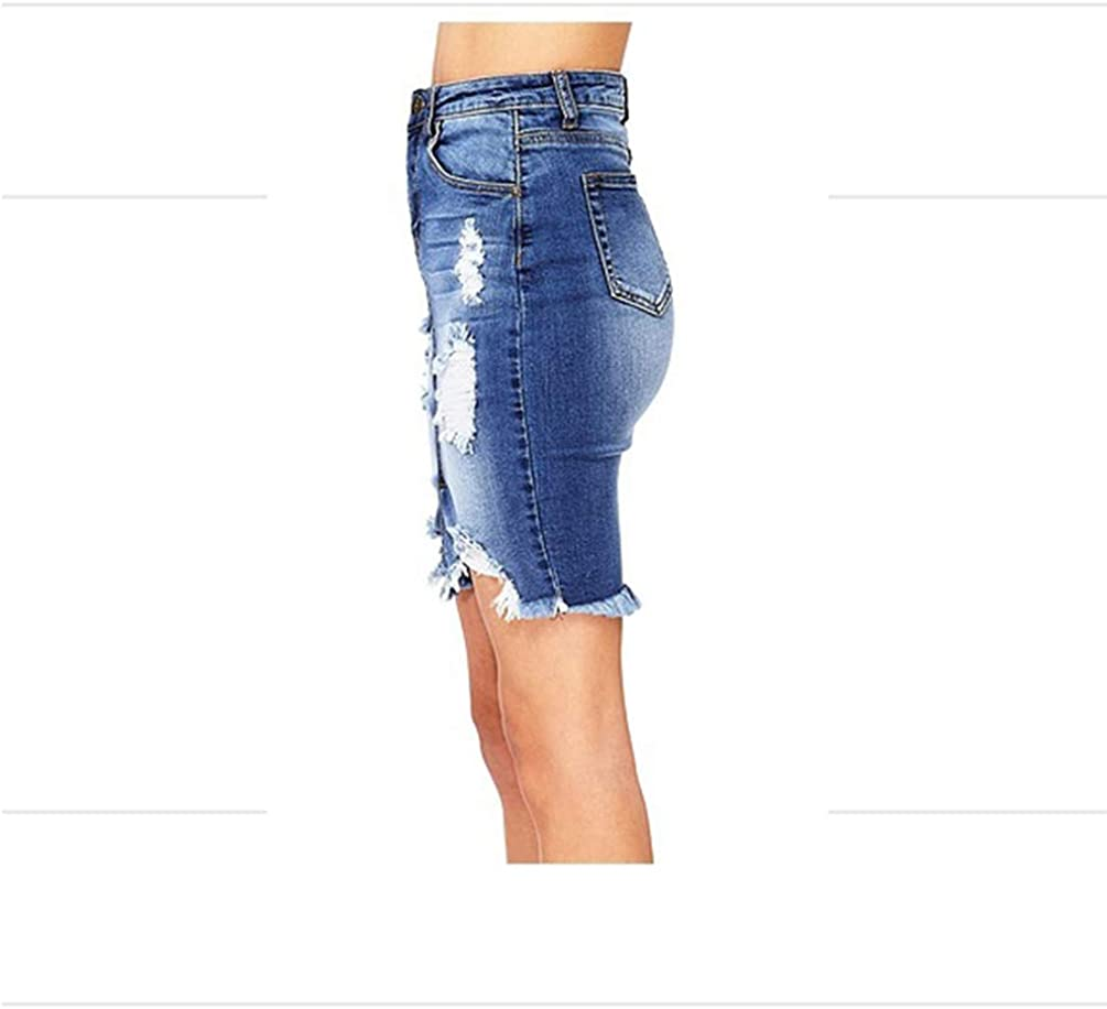 WanYangg Femme Jupe Moulante Courte en D/échir/ée Denim Bouton Fendue Taille Haute Crayon Moulante Slim Fit Stretch Casual Extensible
