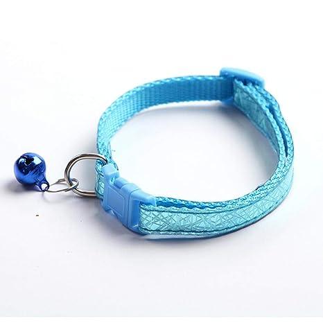 Dixinla Collar de Perro Sintético PVC láser Bell Gato Perro, 1.0cm * 19-