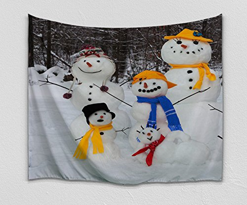 Colorful Star Snowman Family Design Wall Hanging Tapestry ,Machine-washable&Antibacterial&Eco-Friendly made of 100% Polyester Fabric ,Non Toxic, Odor Free,No Fading 60