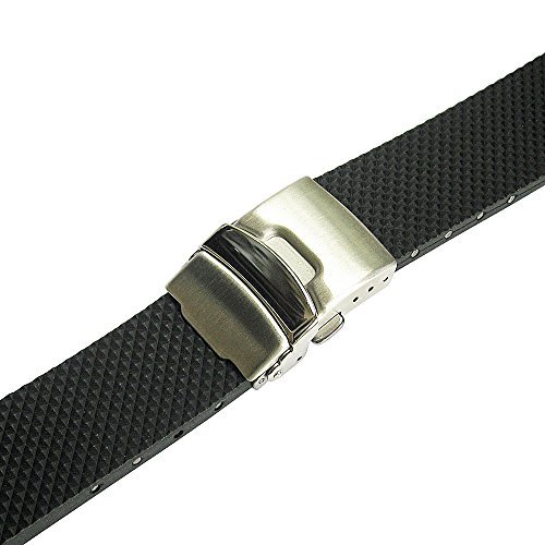 Bonetto Cinturini 24mm Black Rubber Watch Strap Model (Rubber Strap Dive Watch)