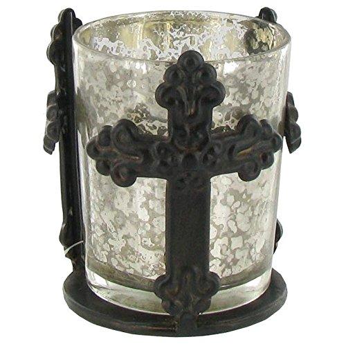 Antiqued Brown Metal Cross Mercury Glass Tea Light Cup Candle Holder Cross Tealight Candle Holder