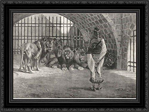 Daniel in The Lion's 24x18 Black Ornate Wood Framed Canvas Art by James Tissot