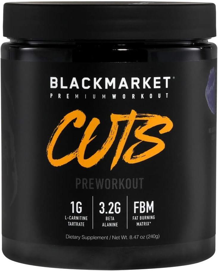 BLACKMARKET AdreNOlyn CUTS Pre Workout, Blue Razz, 30 Servings, 240g