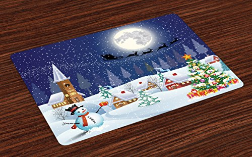 - Ambesonne Christmas Place Mats Set of 4 by, Winter Season Snowman Xmas Tree Santa Sleigh Moon Present Boxes Snow and Stars, Washable Placemats for Dining Room Kitchen Table Decoration, Blue White