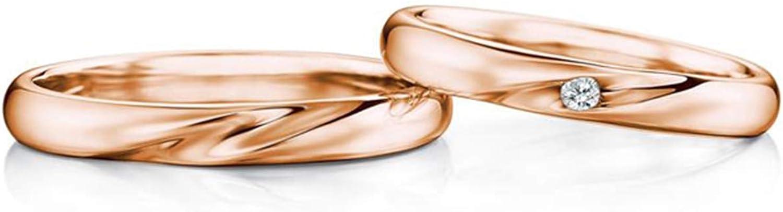 Epinki Anillo Oro Rosa 18k Onda Modelo Diamante 0.04ct Anillos de Boda