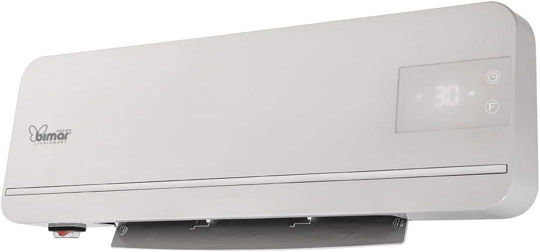 Bimar Calefactor de Pared HP116, Calentador de Ventilador de Pared de Bajo Consumo, Elementos Cerámicos Calentados, 2 Potencias de Calentamiento, Split con Control Remoto y Temporizador