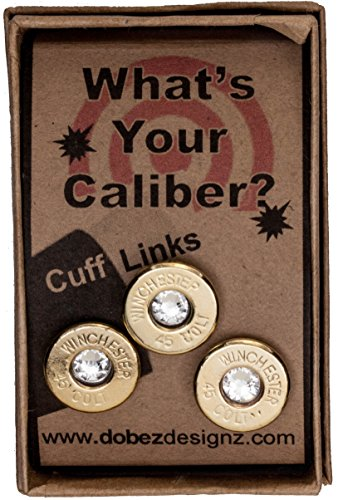 45 Colt Brass Finish Cuff Link and Tie Tack Set- Clear (Winchester)