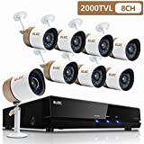 ELEC Surveillance System,1080N 8Channel HD 2000TVL CCTV Indoor & Outdoor Home Video Security Camera System DVR Kit with 8pcs Weatherproof 65ft Night Vision Bullet Cameras Remote Access[No Hard Drive]
