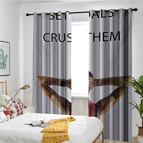 Bedroom Curtains Adjustable lace Sunshade Bag Fitness,Athletic Model Woman Back View Set Goals and Crush Them Fit Female Body Form,Beige Pink Black ()