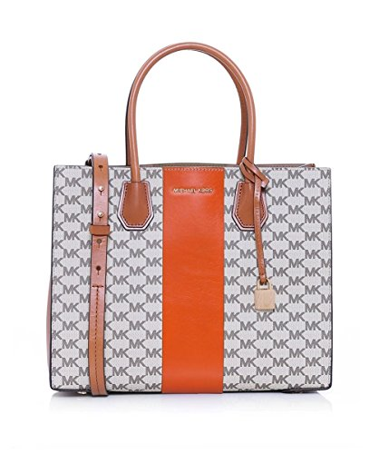 MICHAEL Michael Kors Womens Mercer Stripe Heritage Tote Bag Orange One Size