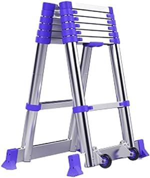 ZCF Escaleras de mano Las Escaleras Telescópicas de Aluminio, A-Frame de Extensión Escalera Multiusos con Patas Antideslizantes Plegable para El Azul de Ingeniería (Size : 1.45m): Amazon.es: Bricolaje y herramientas