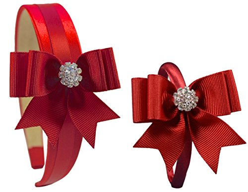 18 Inch Dolly and Me Matching Elegant Bow Headband Gift Set - Funny Girl Designs (RED)