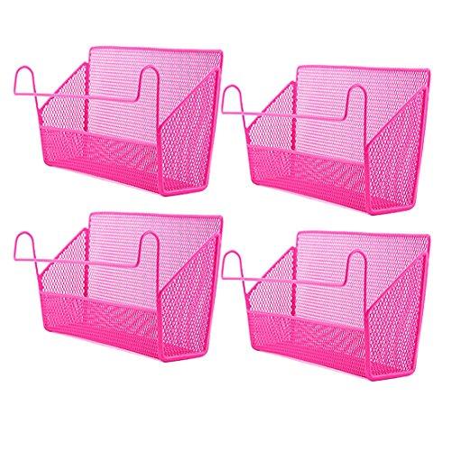 4Pack Dormitory Bedside Storage Baskets, YIFAN Mesh Origanizer Caddy for Books Phones Drinks Office Home Table Hanging Organizer Desktop Corner Shelves - Pink