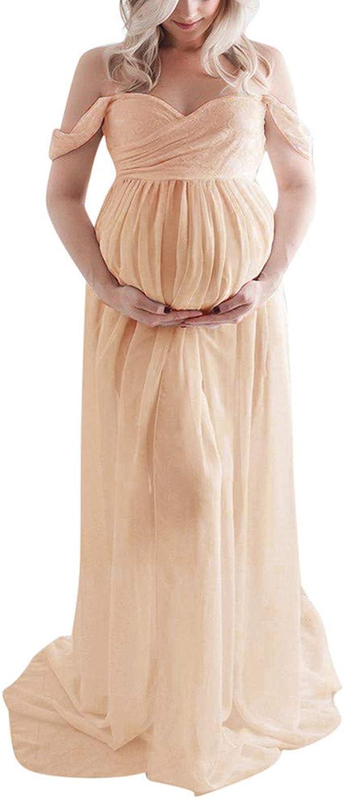 Muamaly Umstandskleid Fotoshooting, Umstandsmode Damen Kleider Schulterfrei  Lang Maxi Festlich Elegant Schwangerschaft Kleid für Schwangere
